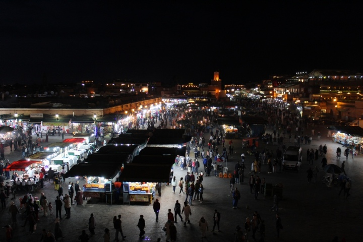 Plaza Jemaa El Fna por la noche